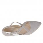 Escarpin ouvert pour femmes avec courroies croisés en cuir blanc, gris et gris imprimé talon 7 - Pointures disponibles:  45