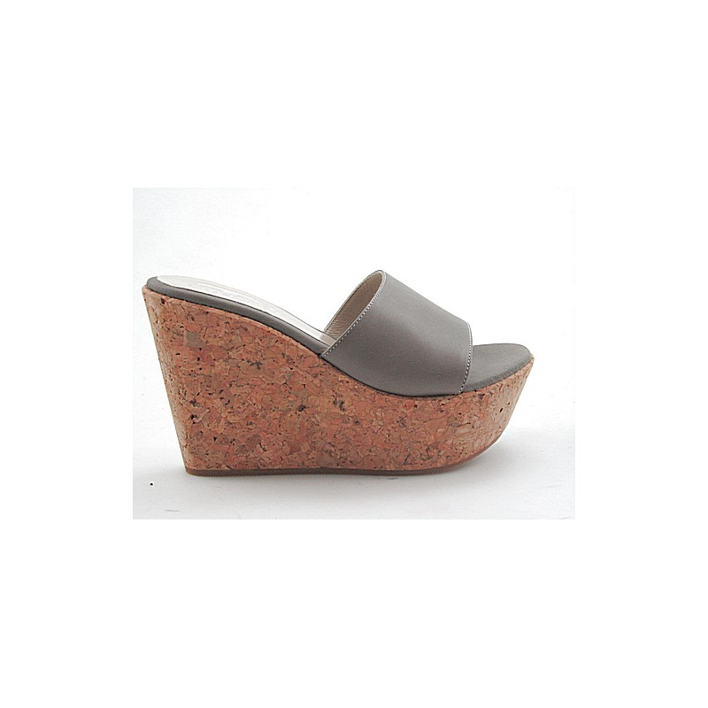 Open sabot in grey leather wedge heel 10 - Available sizes:  42
