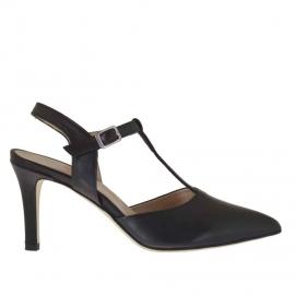 Chanel con cinturini Charleston in pelle nera tacco 7 - Misure disponibili: 42