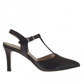 Slingback pump with t-strap in black leather heel 7 - Available sizes:  42
