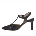 Escarpin chanel avec courroie Charleston pour femmes en cuir noir talon 7 - Pointures disponibles:  42