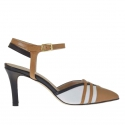 Slingback pump with strap in black, white and tan-coloured leather heel 7