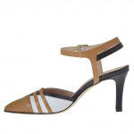 Slingback pump with strap in black, white and tan-coloured leather heel 7 - Available sizes: