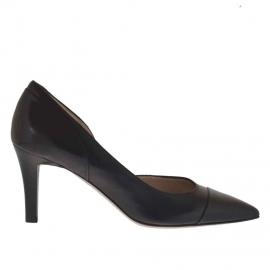 Scarpa da donna decoltè aperta al lato in pelle nera tacco 7 - Misure disponibili: 46, 47