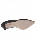 Escarpin pour femmes ouvert sur un côté en cuir noir talon 7 - Pointures disponibles:  46, 47