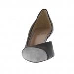 Escarpin pour femmes ouvert sur un côté en cuir noir et lamé argent talon 5 - Pointures disponibles:  47