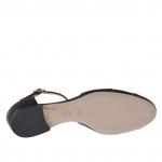 Escarpin ouvert avec courroie Charleston en cuir et cuir verni noir - Pointures disponibles:  32