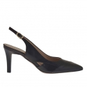Slingback pump in black leather heel 7