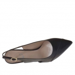 Slingback pump in black leather heel 7 - Available sizes:  47