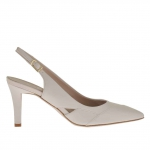 Chanel en cuir beige poudre talon 7 - Pointures disponibles:  47
