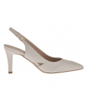 Slingback pump in beige powder leather heel 7