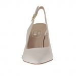 Slingback pump in beige powder leather heel 7 - Available sizes:  47