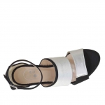 Woman's open shoe with inner wedge, strap and bands in black suede and silver leather heel 9