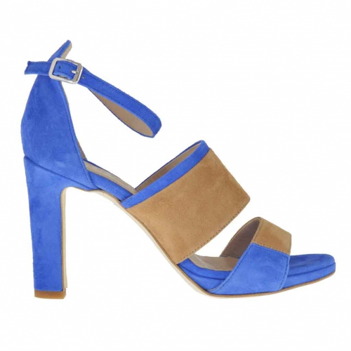 Woman's open shoe with inner wedge, strap and bands in electric blue and tan-coloured suede heel 9