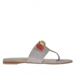 Women's thong flip flop with colored stone appliqué in grey suede heel 1