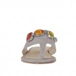 Tongs entredoigt pour femmes avec application en pierres colorés en daim gris talon 1 - Pointures disponibles:  42, 43