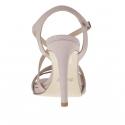 Sandale pour femmes avec courroie entrecroisé et plateforme en cuir verni rose, gris et ivoire talon 9 - Pointures disponibles:  42