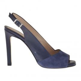 Sandalo da donna con plateau e cinturino in pelle e camoscio blu tacco 9 - Misure disponibili: 42