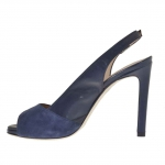 Woman's platform sandal with strap in blue suede and leather heel 9