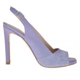 Sandalo da donna con plateau in pelle e camoscio viola chiaro tacco 9 - Misure disponibili: 32, 42, 43