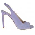 Sandale pour femmes avec plateforme en cuir et daim violette clair talon 9