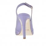 Sandale pour femmes avec plateforme en cuir et daim violette clair talon 9 - Pointures disponibles:  32