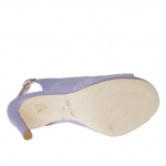 Woman's platform sandal with strap in purple suede and leather heel 9