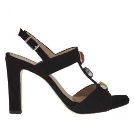 Sandalo da donna con cinturino e applicazioni in pietre in camoscio nero tacco 9 - Misure disponibili: 43, 44, 45