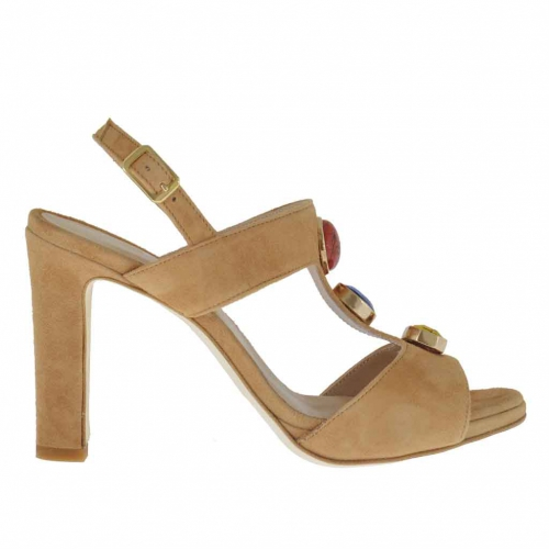 Strap sandal for women with stones appliqué in tan-colored suede heel 9 - Available sizes:  42