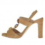 Sandalia para mujer con cinturon y aplicación de piedras en gamuza de color cuero tacon 9 - Tallas disponibles:  42
