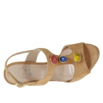 Strap sandal for women with stones appliqué in tan-colored suede heel 9 - Available sizes:  42, 45