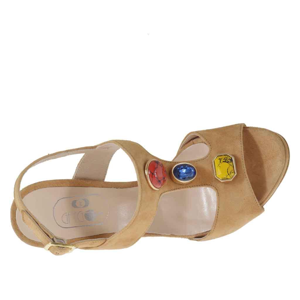 sandale pour femmes avec application en pierres en daim
