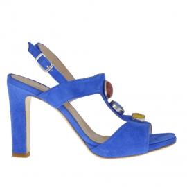 Sandalo da donna con cinturino e applicazioni in pietre in camoscio blu elettrico tacco 9 - Misure disponibili: 42, 44, 45