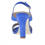 Strap sandal for women with stones appliqué in electric blue suede heel 9 - Available sizes:  45