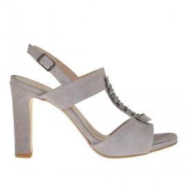 Sandalo da donna con cinturino e applicazioni in metallo color canna di fucile in camoscio grigio tacco 9 - Misure disponibili: 42