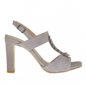 Strap sandal for women with metal gun-coloured appliqué in grey suede heel 9