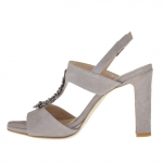Strap sandal for women with metal gun-coloured appliqué in grey suede heel 9 - Available sizes:  42