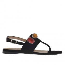 Sandalo infradito da donna con applicazioni in pietre colorate in camoscio nero tacco 1 - Misure disponibili: 33