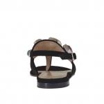 Sandale pour femmes avec application en pierres colorés en daim noir talon 1 - Pointures disponibles:  33