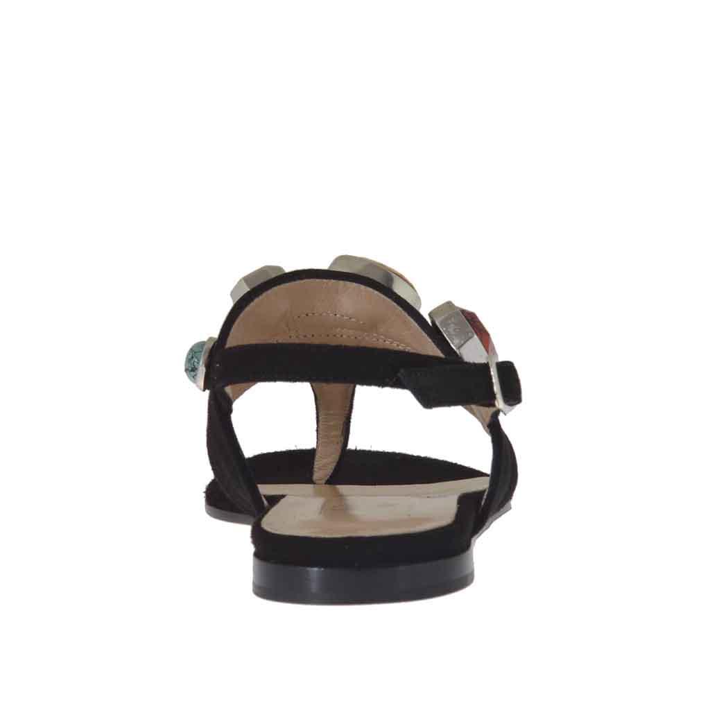 sandale pour femmes avec application en pierres color u00e9s en