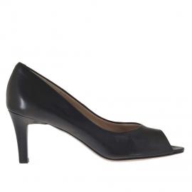 Scarpa da donna aperta in punta in pelle nero tacco 7 - Misure disponibili: 31