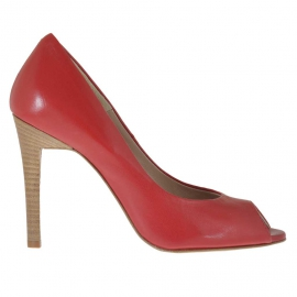 Scarpa da donna aperta in punta in pelle rossa tacco 10 - Misure disponibili: 31