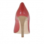 Woman's open toe pump in red leather heel 10