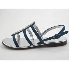 Sandalo con strass in camoscio blu tacco 1 - Misure disponibili: 31