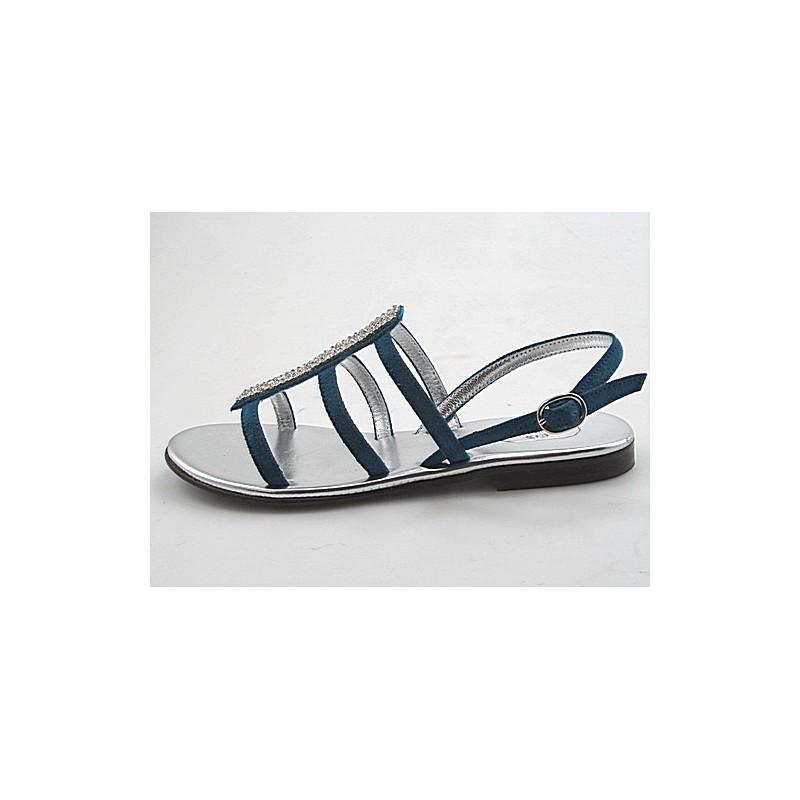 Sandale avec strass en daim bleu talon 1 - Pointures disponibles:  31