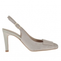 Slingback pump shoe in polka-dot beige suede with a varnished metallic beige plate heel 9