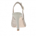 Slingback pump shoe in polka-dot beige suede with a varnished metallic beige plate heel 9 - Available sizes:  47