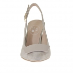 Slingback pump shoe in polka-dot beige suede with a varnished metallic beige plate heel 9 - Available sizes:  46, 47