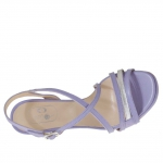 Woman's sandal with criss cross strap and platform in silver and wisteria violet leather heel 9