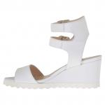 Sandale pour femmes avec double courroie en cuir blanc talon compensé 5 - Pointures disponibles:  42